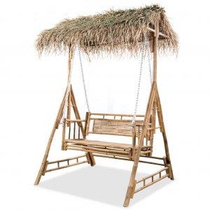 Bambusz hintaágy pálmaleveles napellenzővel
