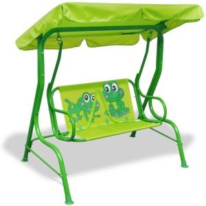 VidaXL gyerek hintaágy zöld békás
