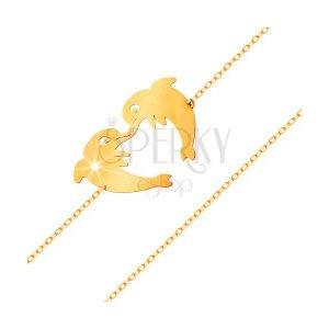 Delfines gyerek karkötő, 585 arany