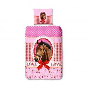 My horse lovas pamut gyerek ágynemű lányoknak, rózsaszín