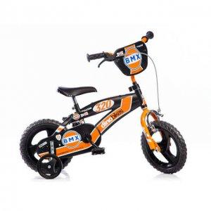 """Dino narancssárga-fekete BMX gyerekbicikli 12"""" 2-4 éves kisfiúnak"""