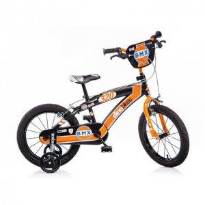 """Dino narancssárga-fekete BMX gyerekbicikli 16"""" 5-7 éves kisfiúnak"""